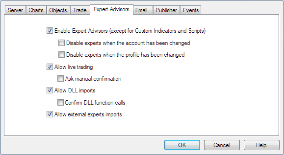 MetaTrader4 RoboForex settings EA for verify_client