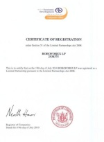 ROBOFOREX LP certificate of registration number is 2538375